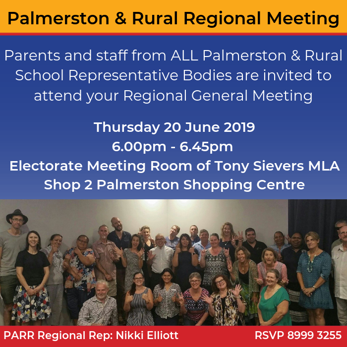 Palmerston & Rural Region Meeting RSVP 8999 3255